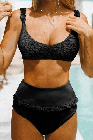 Black Smocked Ruffle High waist Bikini Set