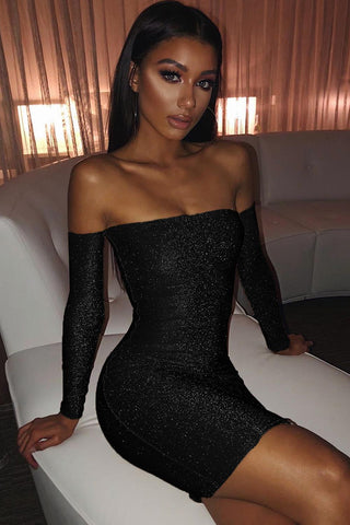 Black Off Shoulder Sparkle Dress