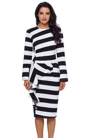 Black Striped Ruffle Back Side Slit Dress