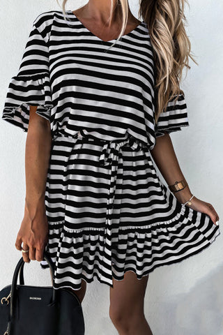 Black Short Sleeves Stripes Ruffle Dress