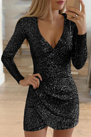 Black Ruched Wrap Surplice Sequin Dress