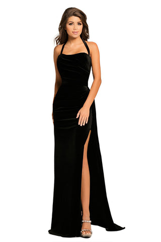 Black Halter Thigh High Split Velvet Gown