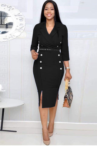 Black 3/4 Sleeves Notched Pencil Midi Dress