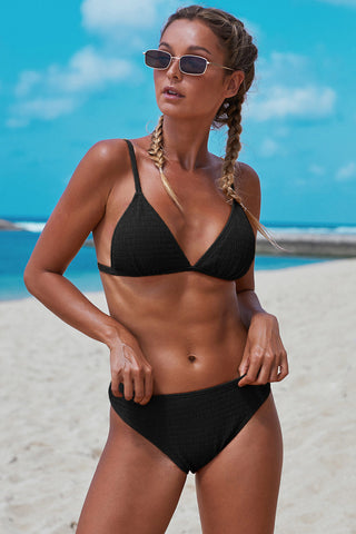 Black Smocked Triangular Bikini Set
