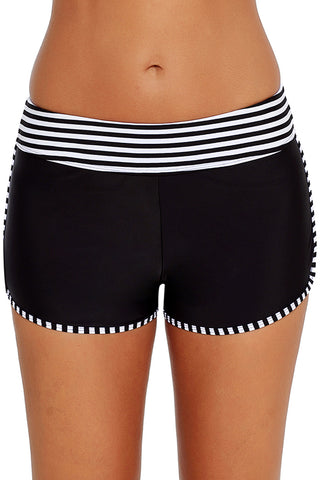 White Trim Black Swim Shorts