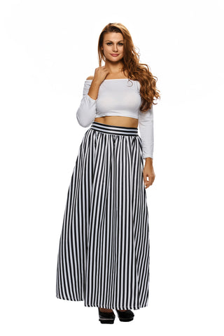 High Waist Black & White Long Skirt