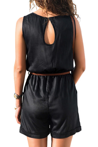 Black Buttoned With Pockets Playsuit