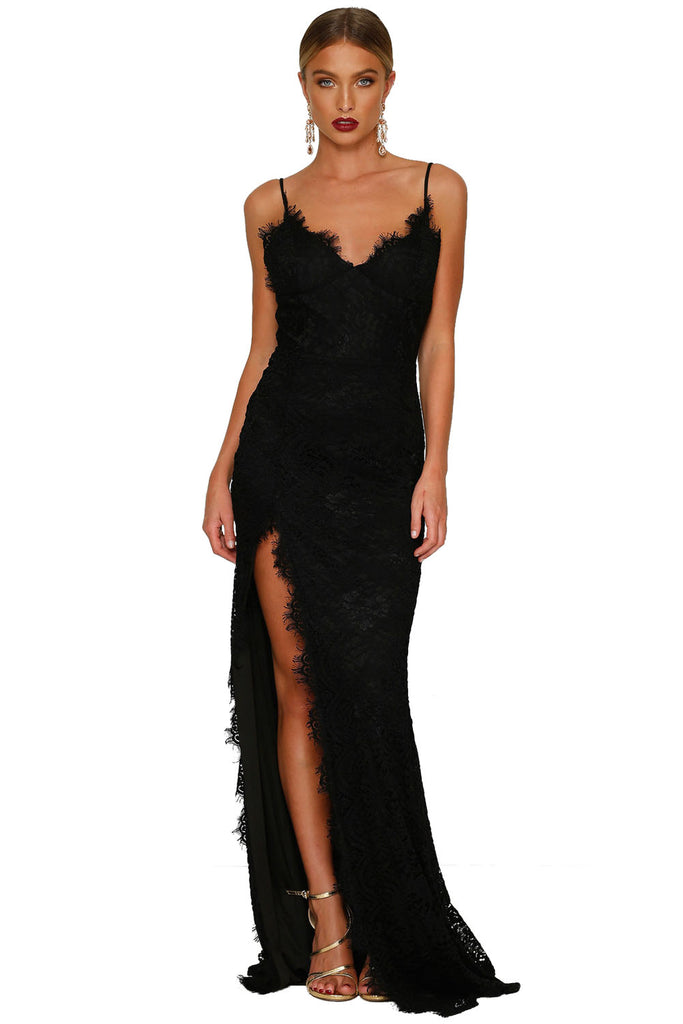 Buy Black Lace Sleeveless Evening Gown Online India - Boldgal.com