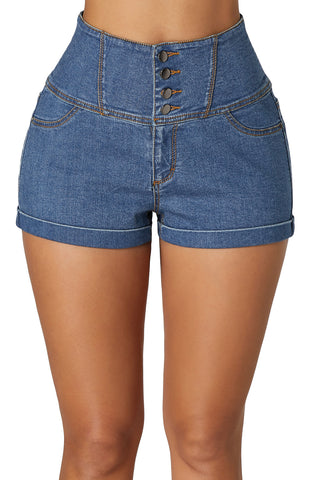 Blue High Waist Buttoned Denim Shorts