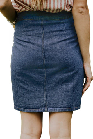 Dark Blue Button Up High Waist Denim Skirt