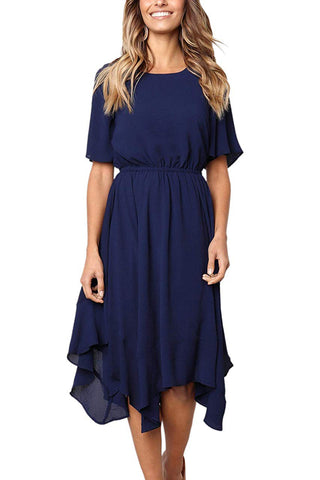 Blue Short Sleeves Pleated Dress