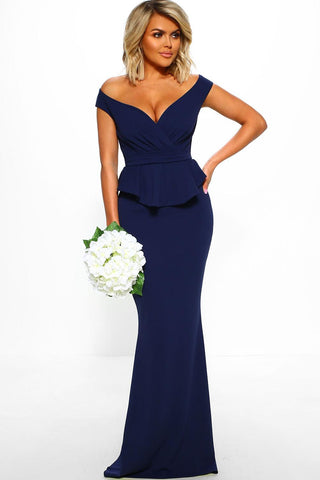 Blue Deep Neck Short Sleeves Peplum Dress
