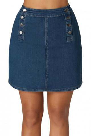 Blue High Waist Short Skirt