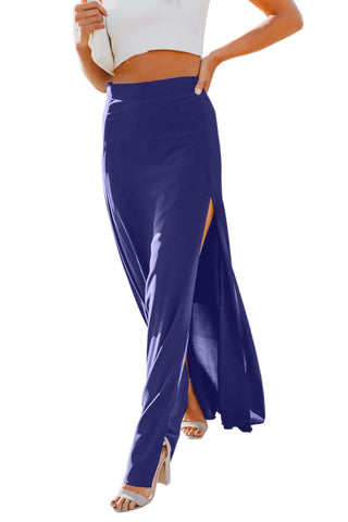Blue Drop High Waist Side Slit Long Skirt