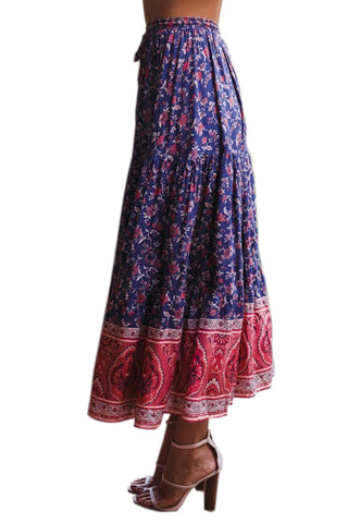 Blue Floral Elastic Waist Long Skirt