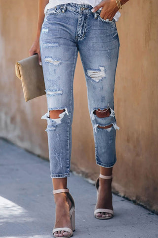 Blue Faded Crop Distressed Jeans