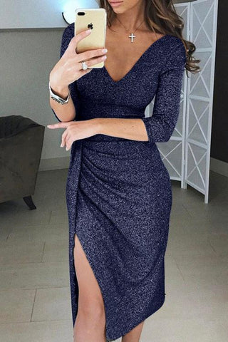 Blue Deep Neck Glitter Ruched Slit Dress