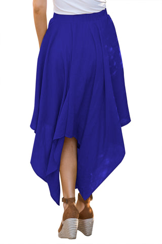 Blue High Waist Pleated Maxi Skirt