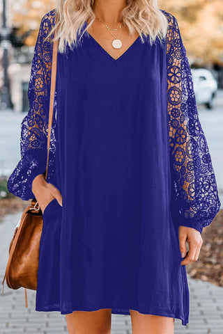 Blue Long Sleeves Lace Shift Short Dress