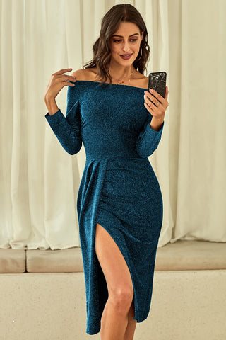 Turquoise Off Shoulder Metallic Glitter Dress