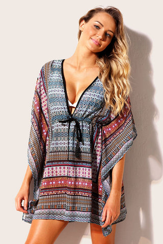 Blue Multicolor Print Beach Kaftan