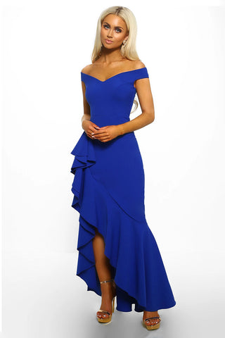 Blue Off Shoulder Frill Long Dress