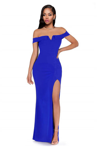 Blue Off Shoulder Cap Sleeve Long Dress