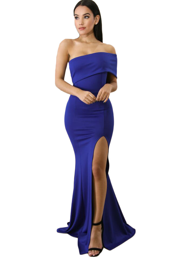 79fd2ff5cafc5 Buy Blue Off Shoulder Slit One Sleeve Gown - Boldgal.com