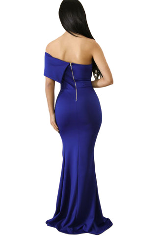 Blue Off Shoulder Slit One Sleeve Gown