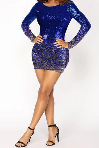Blue Ombre Sequin Backless Dress