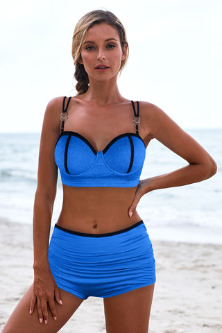 Blue Full Cup Push Up High waist Bikini Set