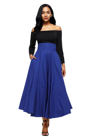 Blue High Waist Pleated Belted Long Skirt