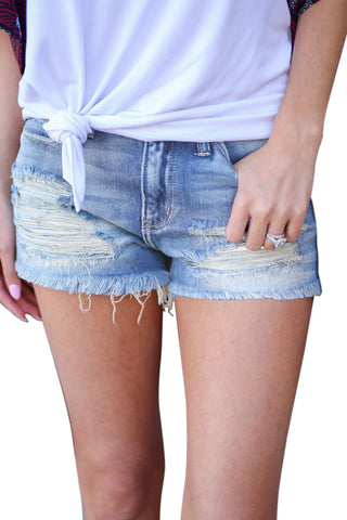 Blue Vintage Ripped Denim Shorts