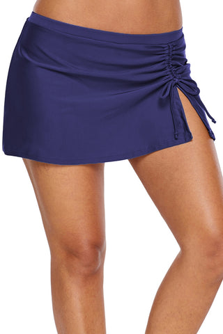 Blue Side Vent Ruched Beach Skirt