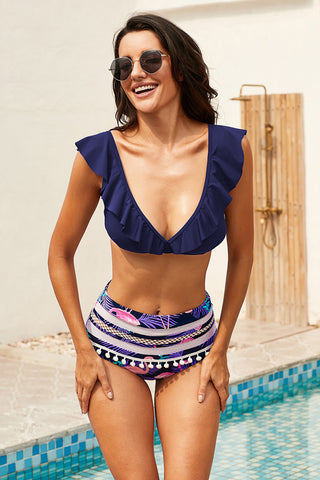 Blue Printed Ruffle High waist Bikini Set