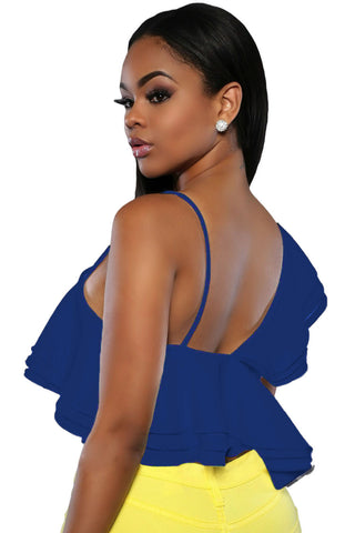 Blue Ruffle Fashion Luxe Ladies Crop Top - Boldgal.com