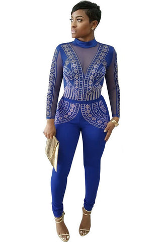 Blue Studded Mesh Long Sleeves Jumpsuit