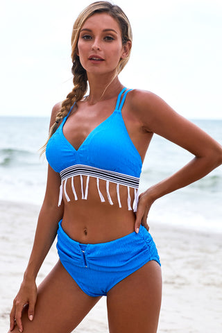 Blue Bowknot Strappy Tassel High waist Bikini Set