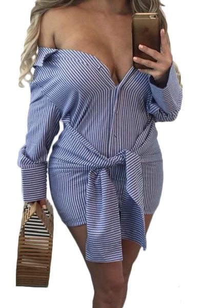 1bd41ff7a402 Buy Blue Striped Off Shoulder Shirt Dress - Boldgal.com