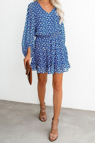 Blue Lantern Sleeves Floral Print Tunic Dress