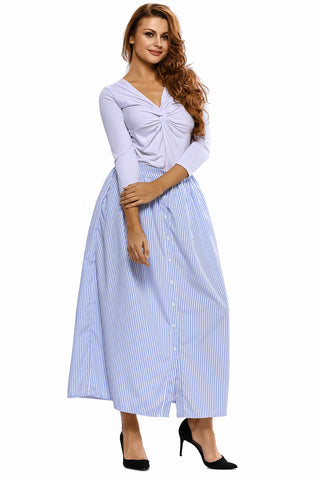 White & Blue Striped Casual Long Skirt