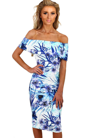 Light Blue Floral Off Shoulder Midi Dress