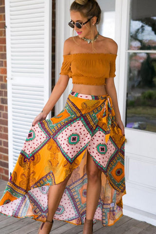Tribal Printed High low Maxi Skirt - Boldgal.com