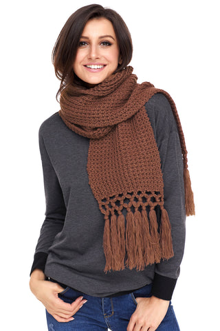 Brown Tassel Knit Long Scarf