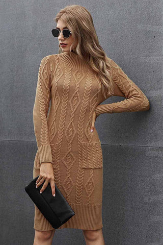 Brown Long Sleeves High Neck Sweater Dress