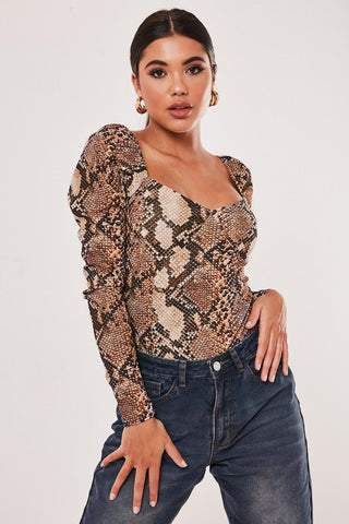 Brown Puff Sleeve Snake Print Bodysuit