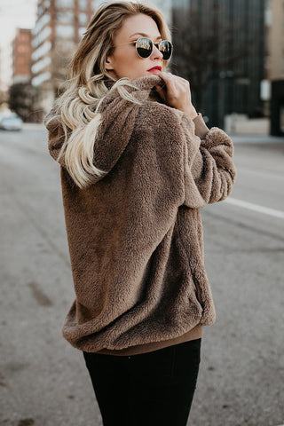 Brown Furry Warm Pullover Hoodie