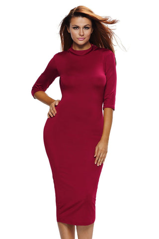 Red Bodycon O-ring Stylish Dress