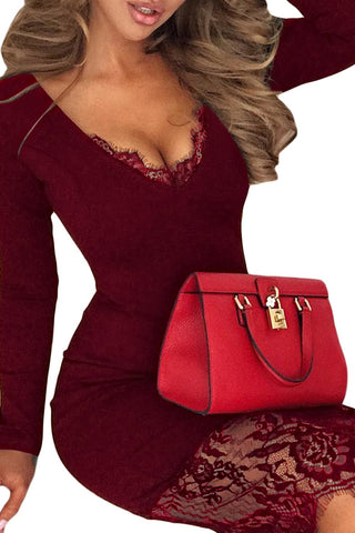 Burgundy Lace Overlay Long Sleeves Dress