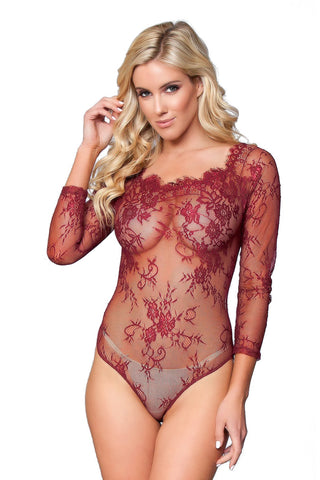Burgundy Lace Embroidery Bodysuit ... 5e3aff548